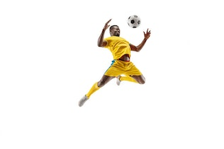 Professional african football soccer player isolated on white background