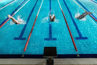 Rear view of three male swimmers diving into a pool