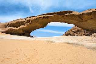 view of bridge sandstone rock in Wadi Rum desert