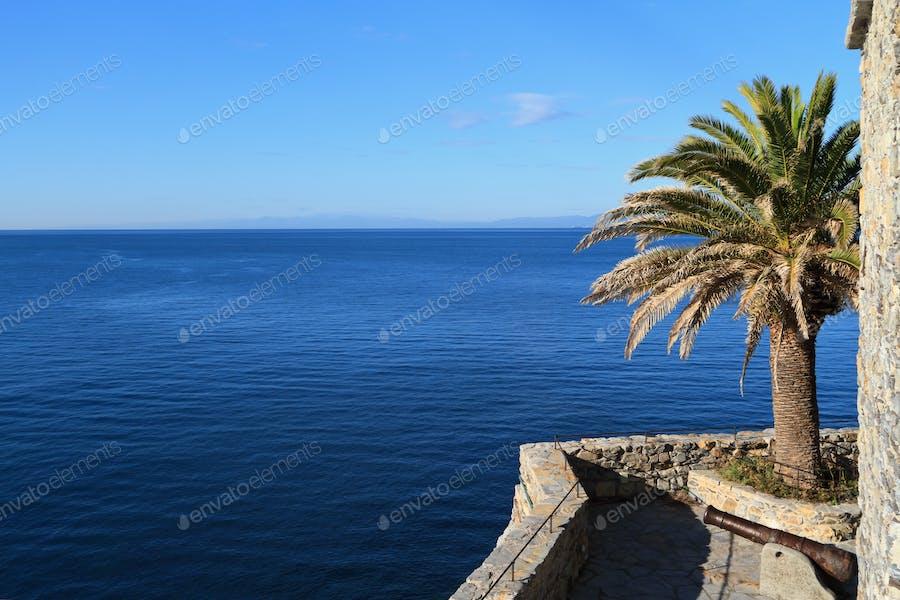 castle surrounding the sea